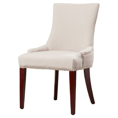 Alpha Centauri Upholstered Side Chair in Linen - Grey with Nickel Nailheads Finish: Taupe Gray