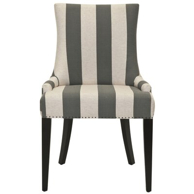 Alpha Centauri Upholstered Side Chair in Linen - Grey Stripe with Carpenter Nailheads Color: Espresso