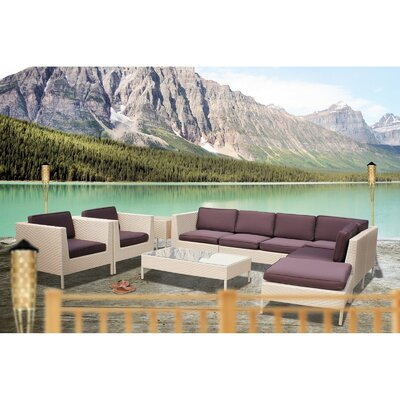 Alrai 9 Piece Sectional Deep Seating Group with Cushions Finish: Espresso, Fabric: White