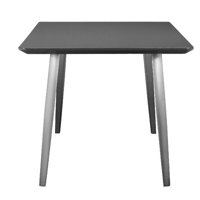 Buettner Dining Table Base Finish: Brushed Metal, Top Finish: Gray