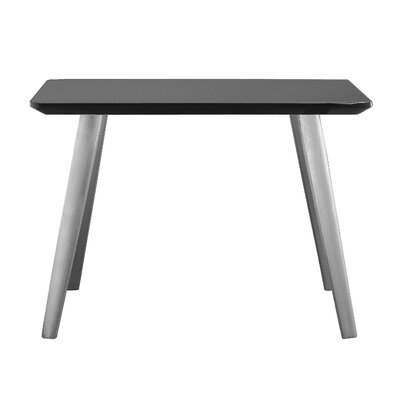 Buettner End Table Base Color: Brushed Metal, Top Color: Gray