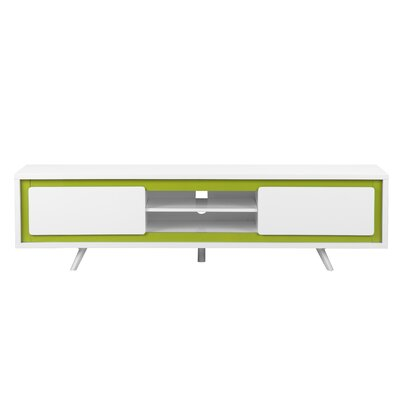 Buettner Wood 71 TV Stand Leg Color: Polished Metal, Base Color: White / Walnut