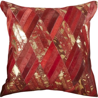Cougar Cove Leather Throw Pillow Color: Red