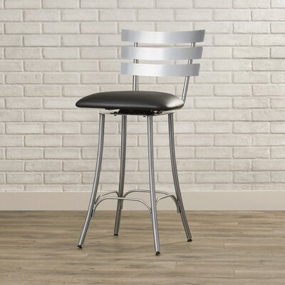 Bax 26.75 Swivel Bar Stool Finish: Glossy Grey/Black