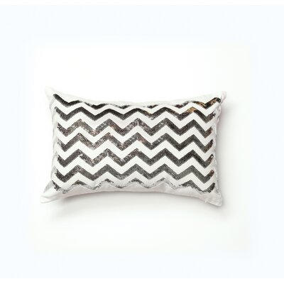 Linville Chevron Cotton Lumbar Pillow Color: Sliver