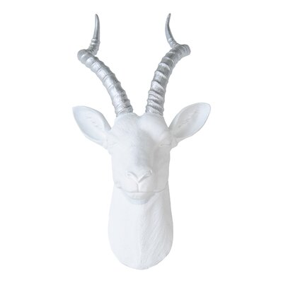 Large Antelope Head Wall Décor Color: White / Silver