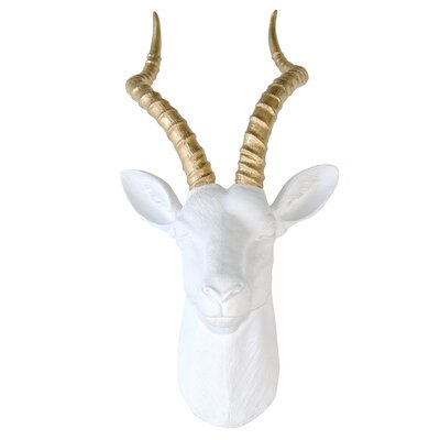 Large Antelope Head Wall Décor Color: White / Gold