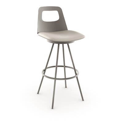 Oliveira 26 inch Swivel Bar Stool Finish/Seat Color: Matte Light Grey/Beige