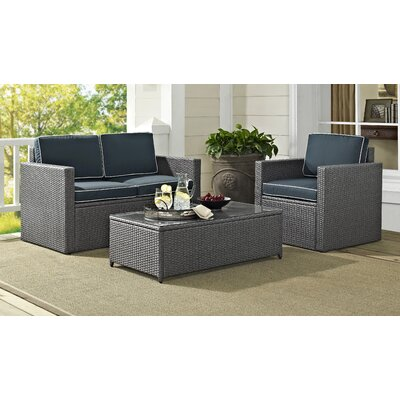 Crosson 3 Piece Sofa Seating Group with Cushions