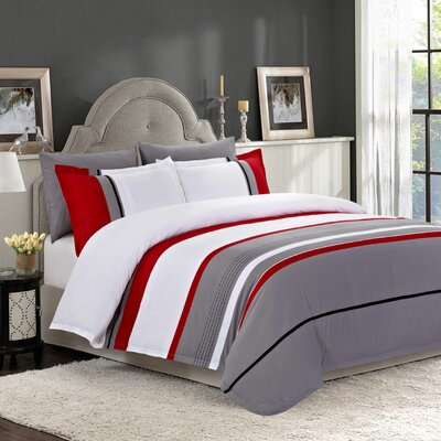 Esposito 100% Cotton 3 Piece Duvet Cover Set Size: Queen