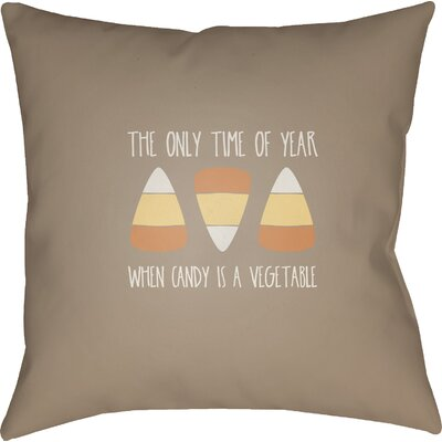 The Only Time Of Year Indoor/Outdoor Throw Pillow Size: 18 H x 18 W x 4 D, Color: Brown/White/Orange