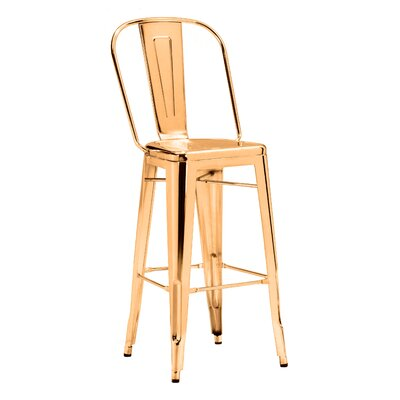 Mucci 29.9 Bar Stool Upholstery: Gold