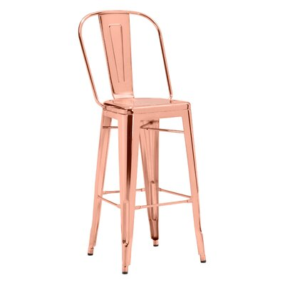 Mucci 29.9 Bar Stool Upholstery: Rose Gold