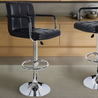 Bristol Adjustable Height Swivel Bar Stool Upholstery: Black