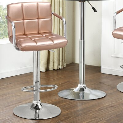 Adjustable Height Swivel Bar Stool Upholstery: Rose Gold