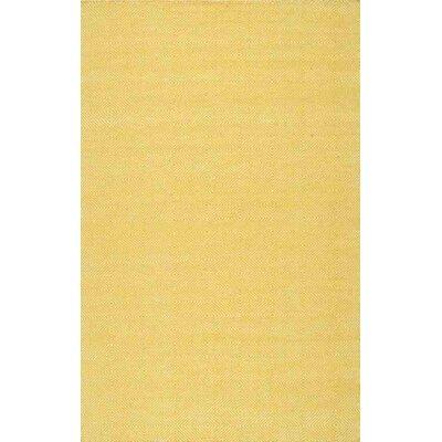 Bucktown Hand-Woven Yellow Area Rug Rug Size: 5 x 8