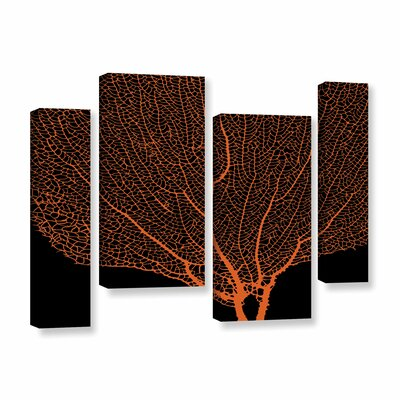 Fan Coral Tangerine 4 Piece Graphic Art on Gallery Wrapped Canvas Set