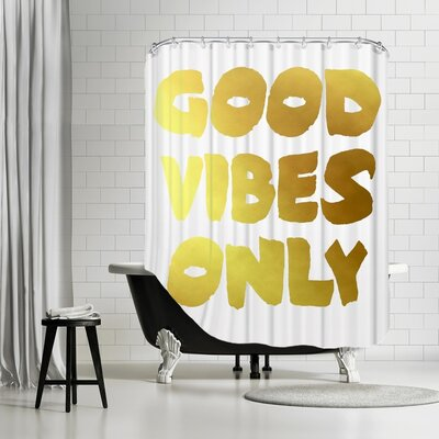 Ikonolexi Vibes 1 Shower Curtain Color: Gold