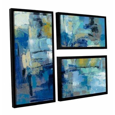 Ultramarine Waves III 3 Piece Framed Painting Print on Canvas Set