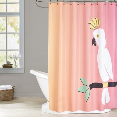 Ashlee Rae Cockatoo on Sunset Print Shower Curtain Color: Orange / Pink