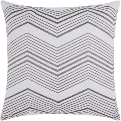 Cardington Thin Chevron Stripped Cotton Throw Pillow Color: Silver