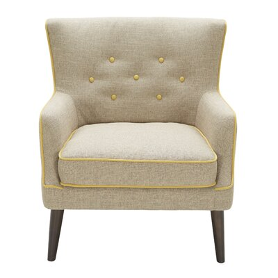 Castor Accent Wing back Chair Color: Light Brown/Yellow