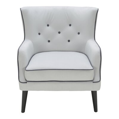 Castor Accent Wing back Chair Color: Light Gray/Charcoal