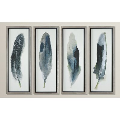 Feathered Beauty Prints 4 Piece Framed Graphic Art Set