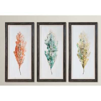 3-Piece Tricolor Abstract Leaves Original Painting Set