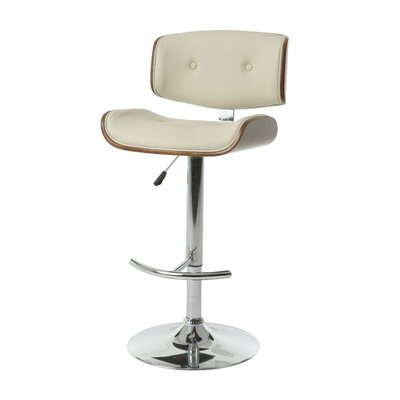 Vargo Adjustable Height Swivel Bar Stool Upholstery: PU Ivory
