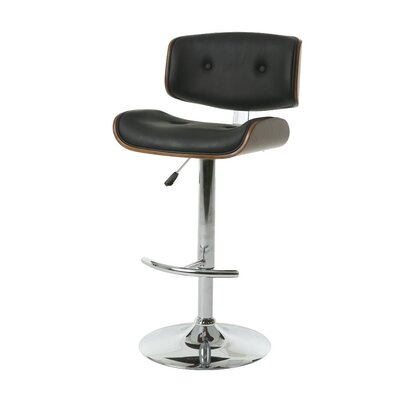 Vargo Adjustable Height Swivel Bar Stool Upholstery: PU Black