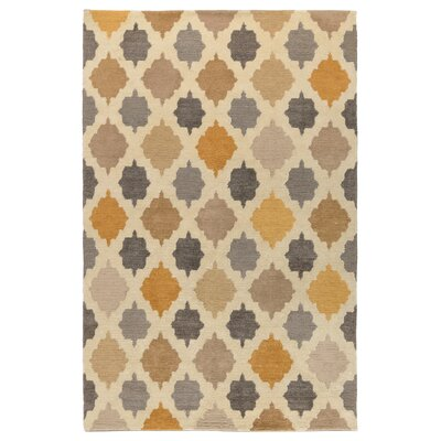 Cervinus Hand-Knotted Gold Area Rug Rug Size: 5 x 8