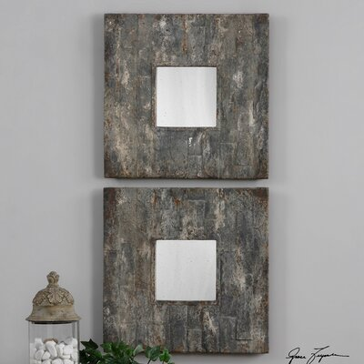 2 Piece Square Aged Stone Mirror Set