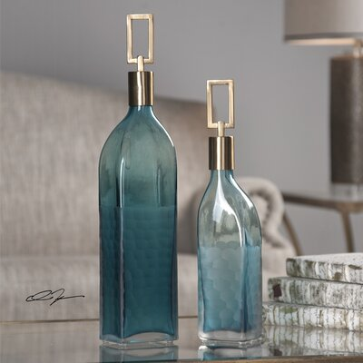 2 Piece Glass Bottle Vase Set