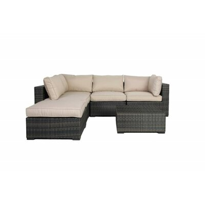 Lara 6 Piece Wicker Deep Sectional Seating Group with Cushions Fabric: Beige
