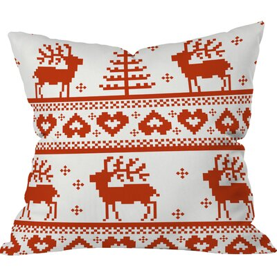 Logsdon Knitting Deer Indoor/Outdoor Throw Pillow Size: Medium