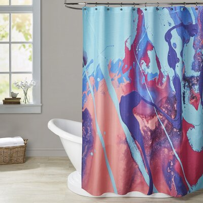 Deb McNaughton Aqua Splatters Shower Curtain