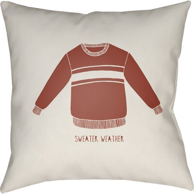 Sweater Weather Indoor/Outdoor Throw Pillow Size: 18 H x 18 W x 4 D, Color: White/Red