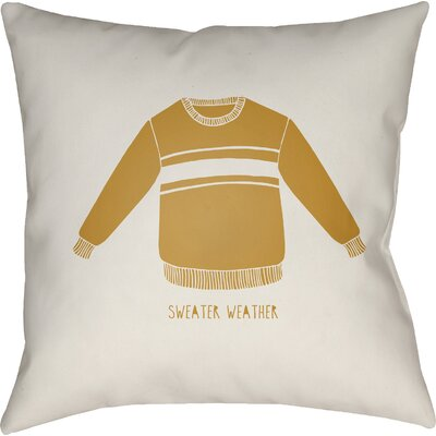 Sweater Weather Indoor/Outdoor Throw Pillow Size: 18 H x 18 W x 4 D, Color: White/Yellow