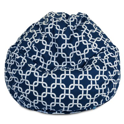 Danko Geometric Bean Bag Chair Upholstery: Navy Blue