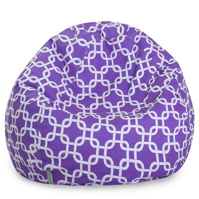 Banas Geometric Bean Bag Chair Upholstery: Purple