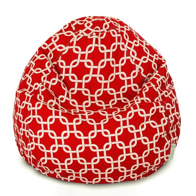 Banas Geometric Bean Bag Chair Upholstery: Red