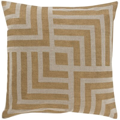 Eastvale Stamped 100% Linen Throw Pillow Cover Color: GrayBrown, Size: 20