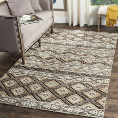 Eldert Hand-Knotted Beige Area Rug Rug Size: Rectangle 9 x 12
