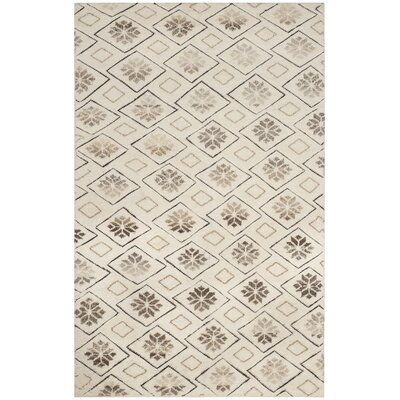 Eldert Hand-Knotted Ivory Area Rug Rug Size: Rectangle 9 x 12