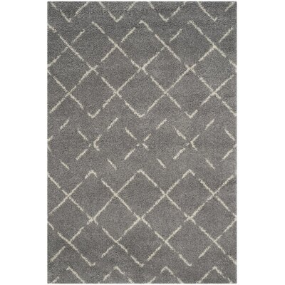 Barcia Shag Gray/Ivory Area Rug Rug Size: Rectangle 2-3 X 12