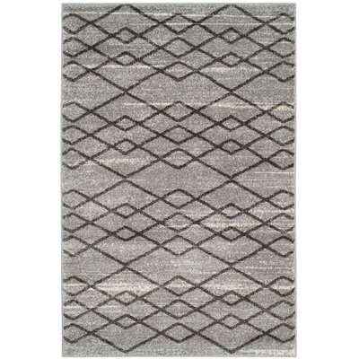 Electra Gray/Black Area Rug Rug Size: 4 x 6