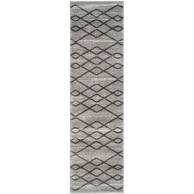 Electra Gray/Black Area Rug Rug Size: Runner 23 x 8