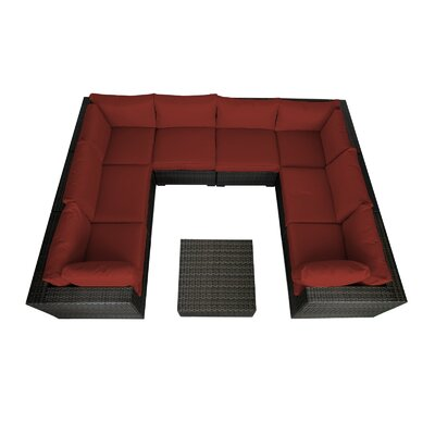 Lara 9 Piece Seating Group with Cushions Fabric: Ribbed Brick