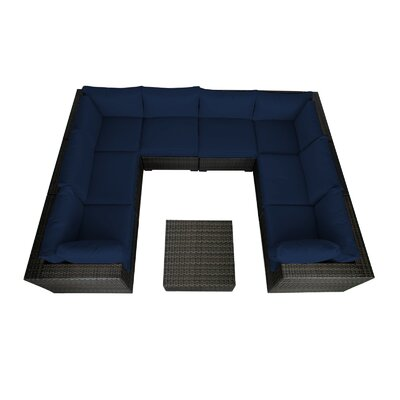 Lara 9 Piece Seating Group with Cushions Fabric: Ribbed Navy